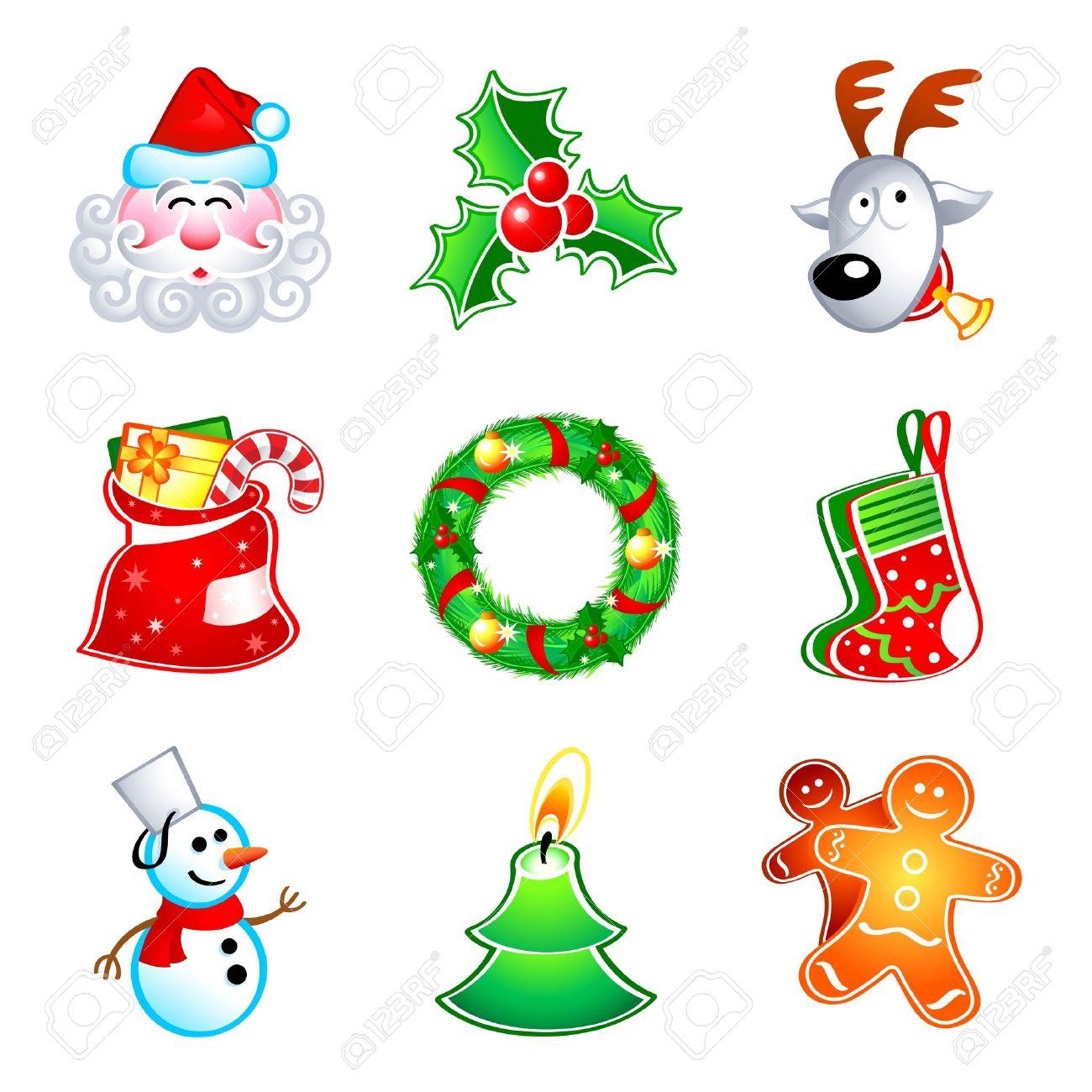 Symbols Of Christmas.Colorful Icons With Traditional Christmas Symbols