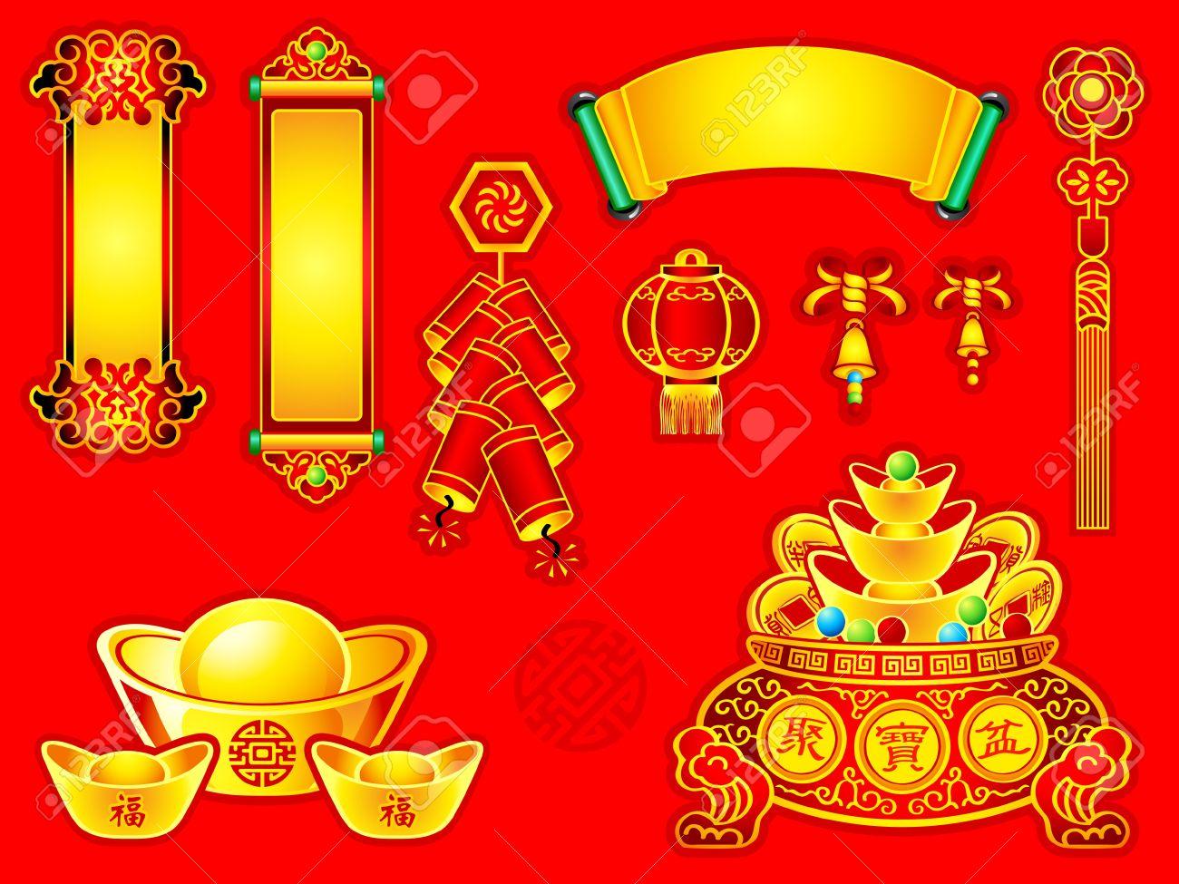 Chinese New Year Dekoration Banner, Schriftrollen, Gold, Wünsche ...