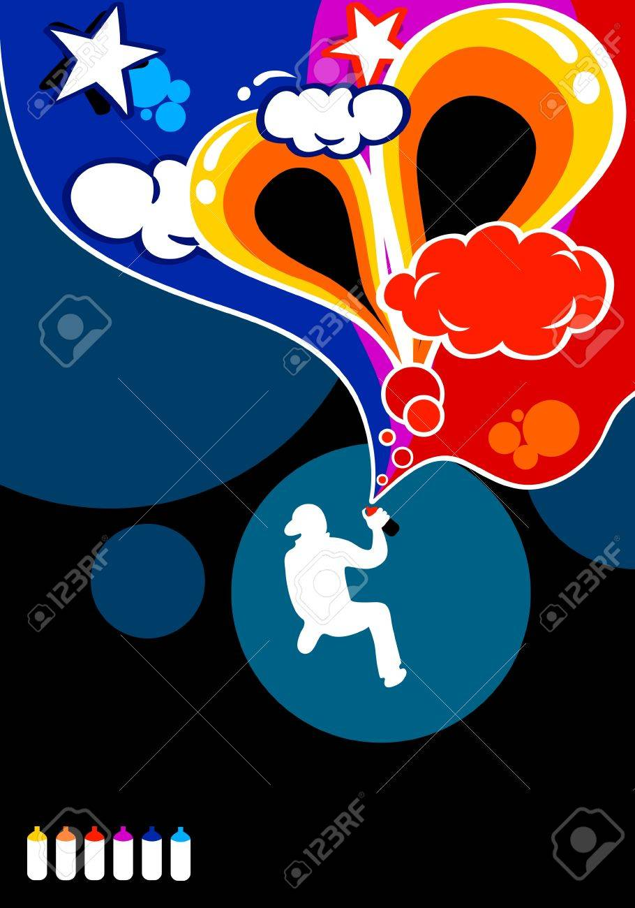 A boy silhouette spraying abstract graffiti in six colors Stock Vector - 10671639