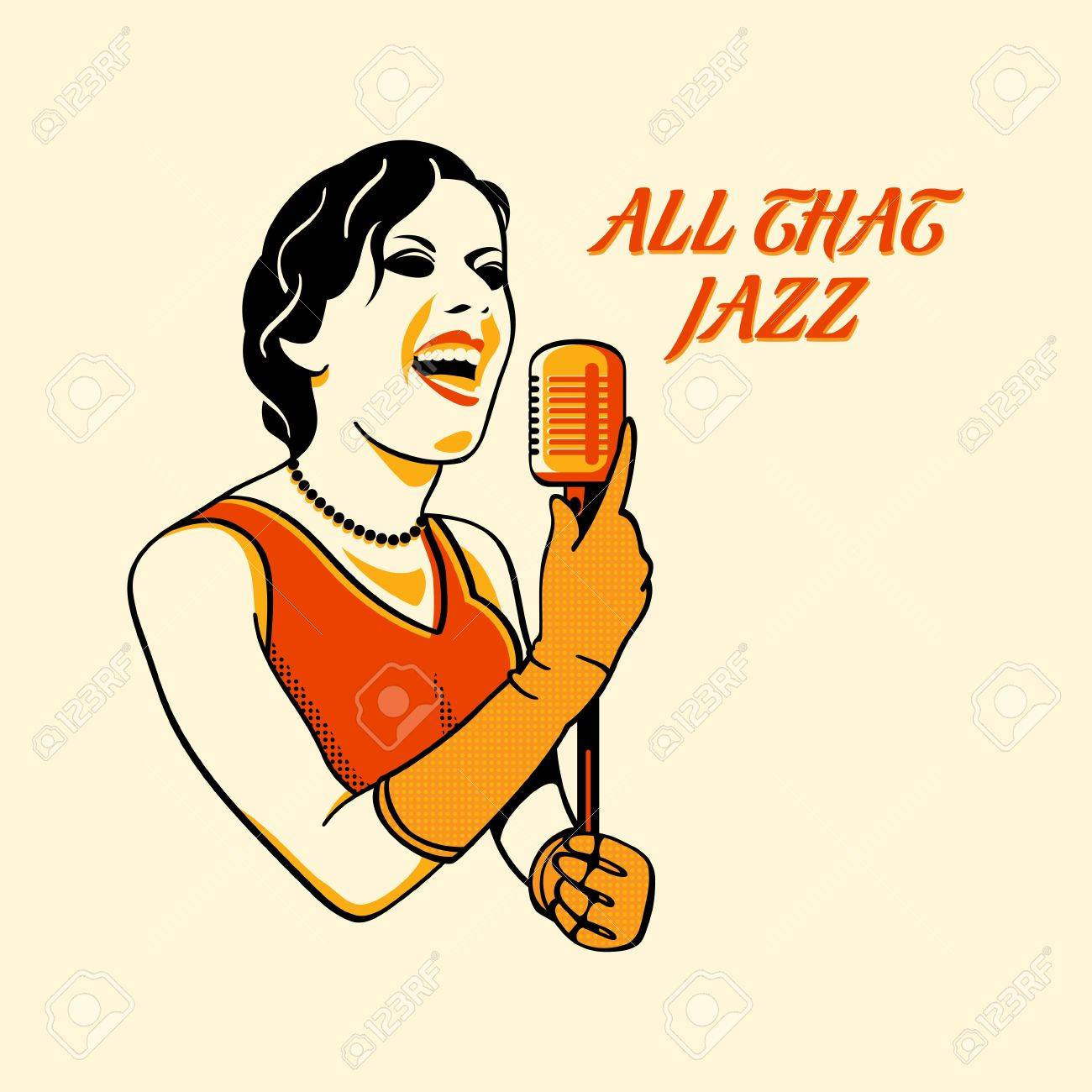 Color halftone printing - Jazz Singer In Three Color Print Halftone Pattern Stock Vector 10774920