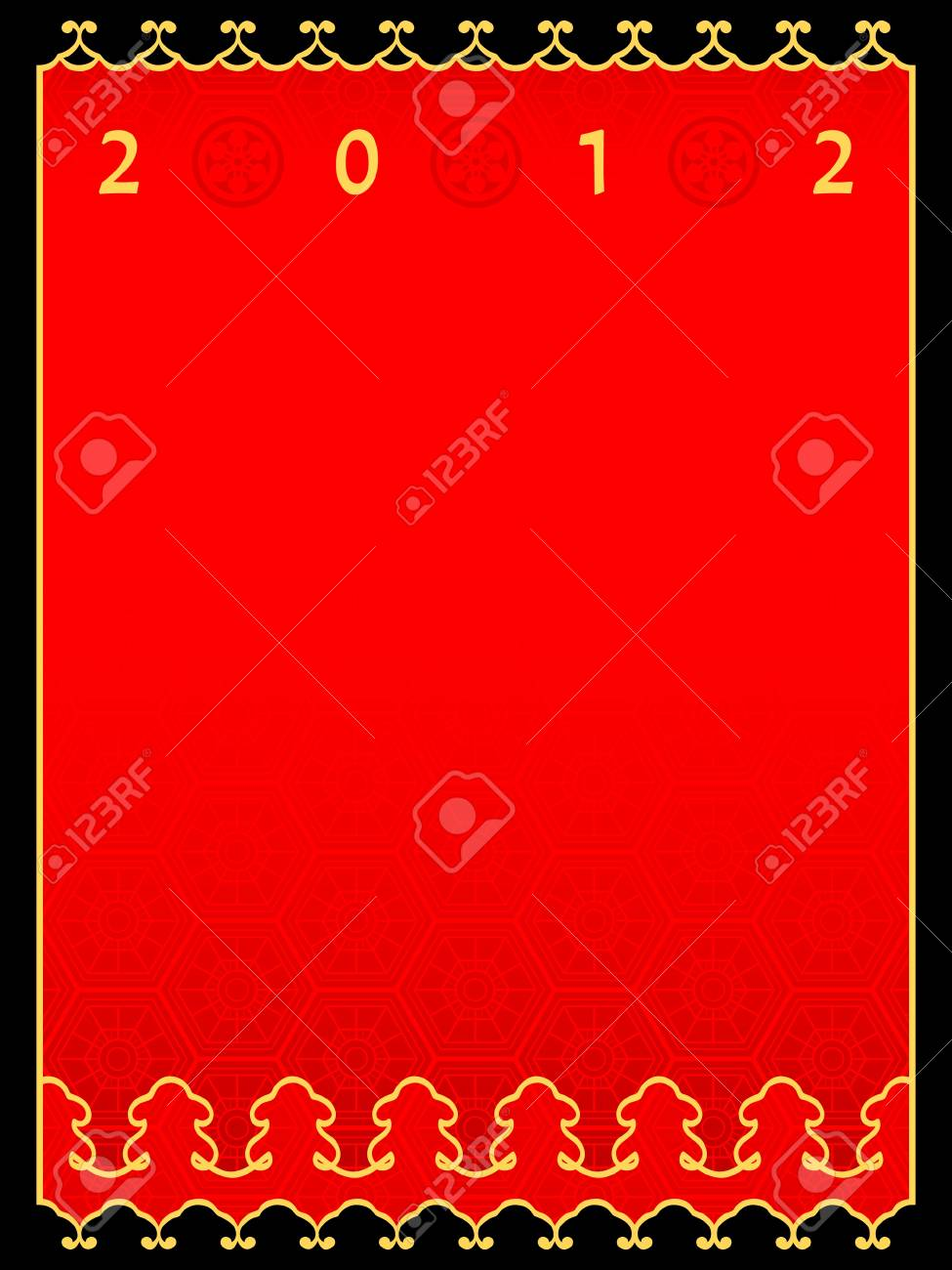 Chinese New Year 2012 ornamental card with copy-space Stock Vector - 11070048