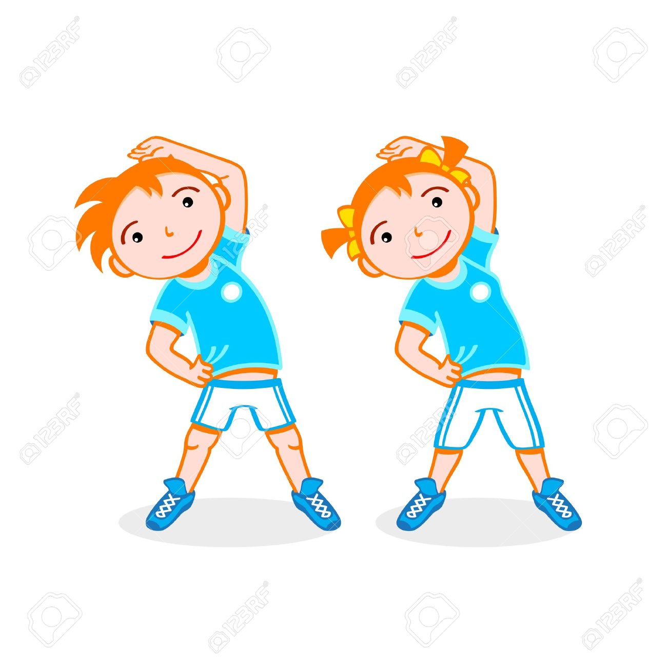 Cheerful Boy And Girl Do Stretching Exercise Royalty Free Cliparts Vectors And Stock Illustration Image 11197426