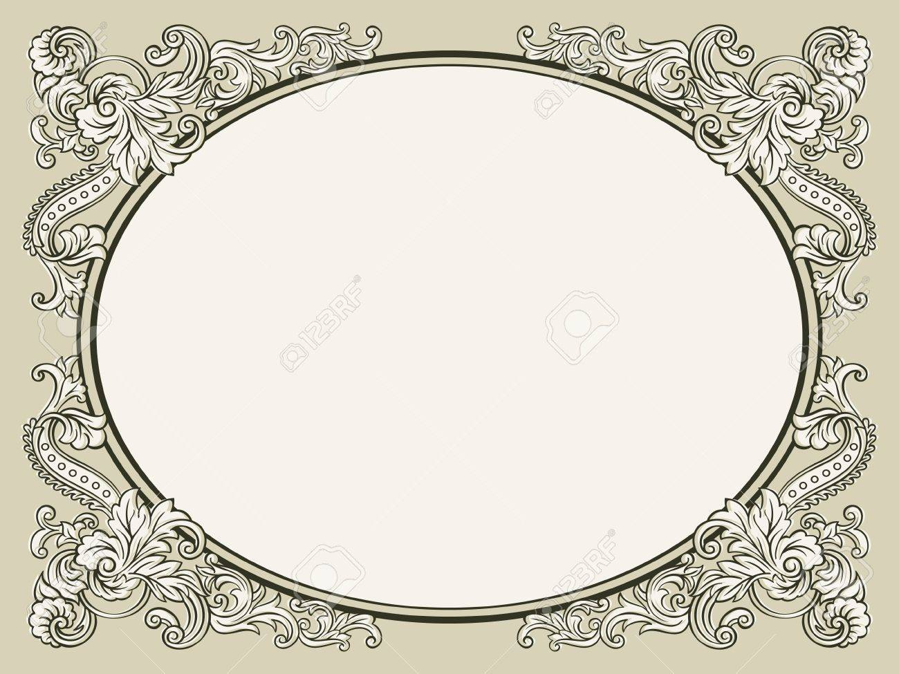 Oval vintage floral decorated bookish frame Stock Vector - 12326993