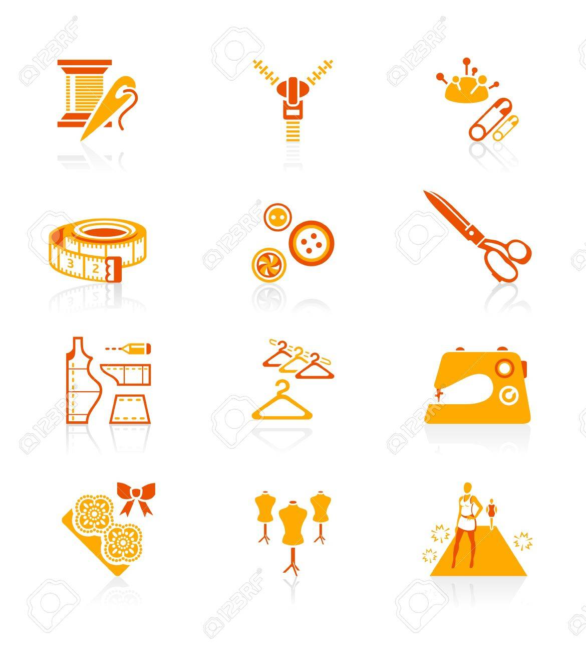 Fashion industry tools and objects red-orange icon-set Stock Vector - 12792838