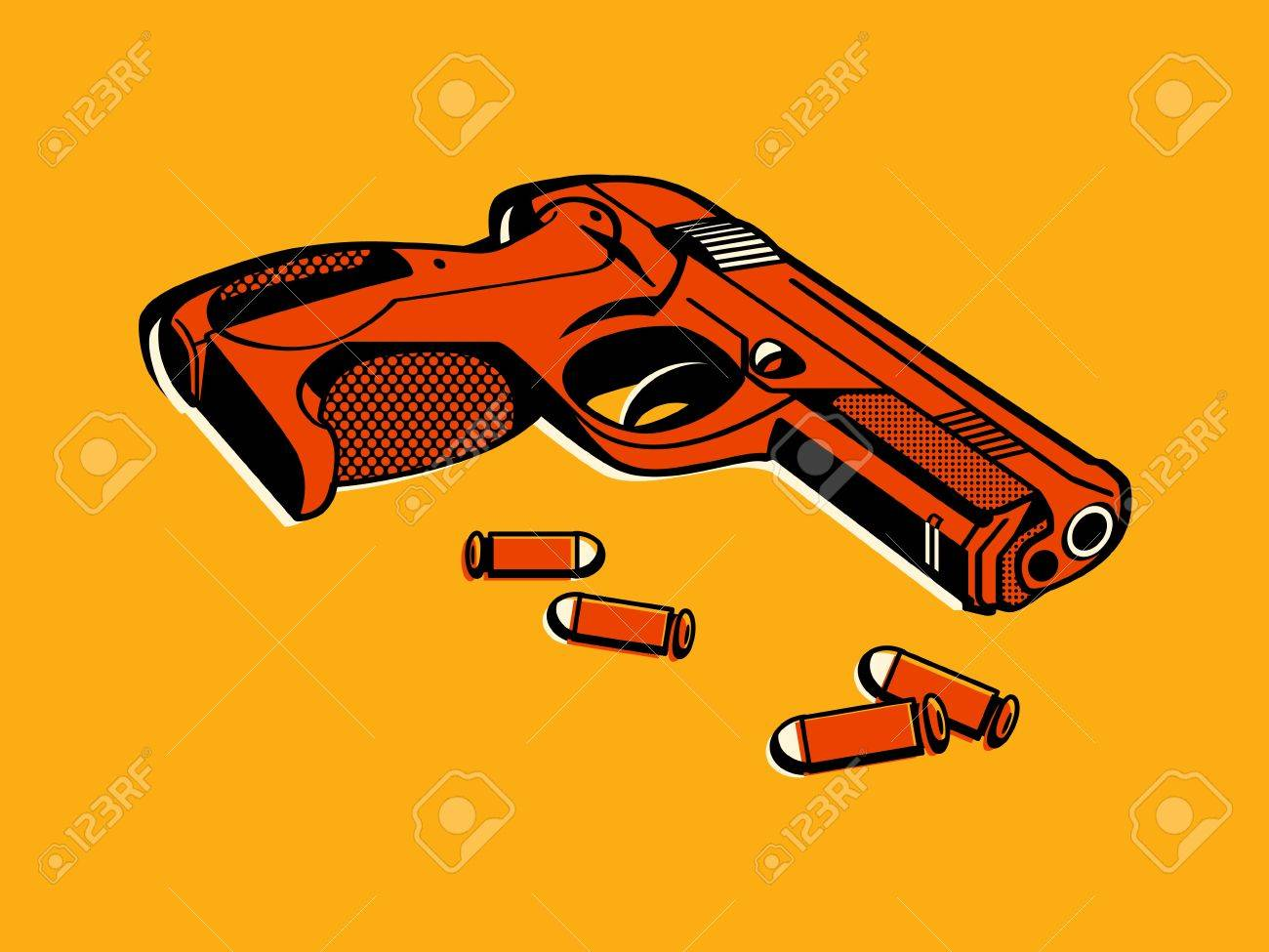 Color halftone printing - Gun With Bullets In Retro Three Color Print Halftone Pattern Stock Vector 12792839