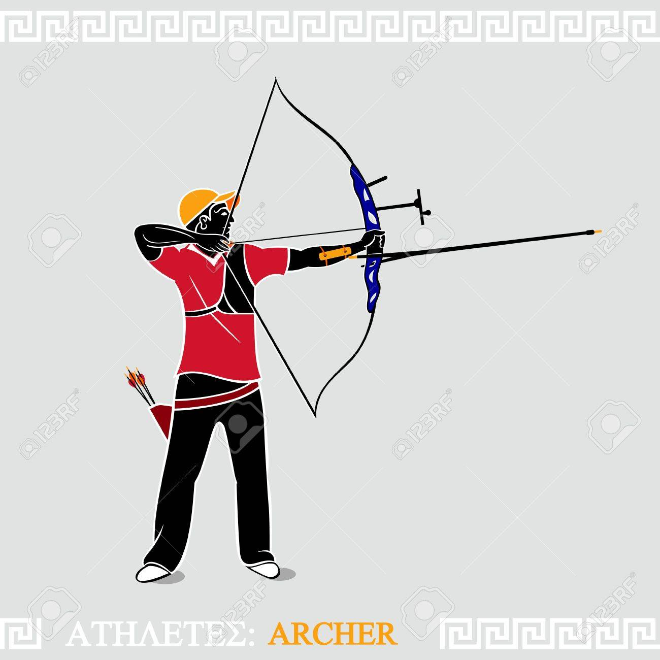 40c5df33e Greek art stylized archer with modern recurve bow