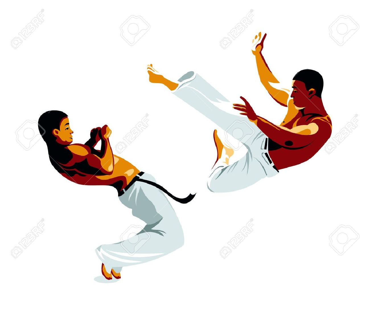 Capoeira Fighters Kick And Defense Isolated Royalty Free Cliparts ...