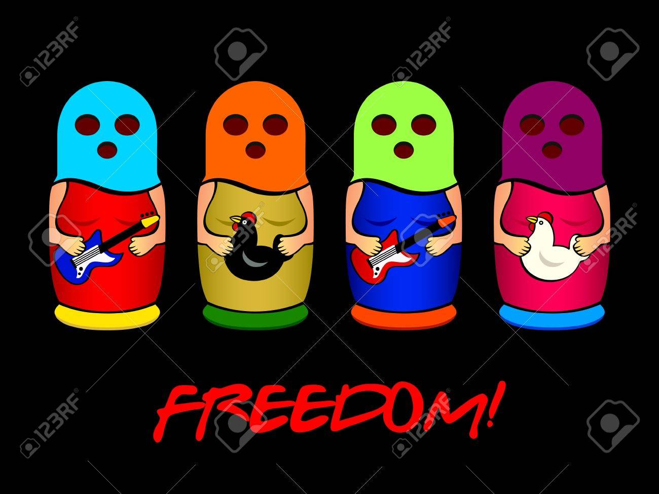 Matryoshkas band with colorful balaklava sing for freedom Stock Vector - 14927762