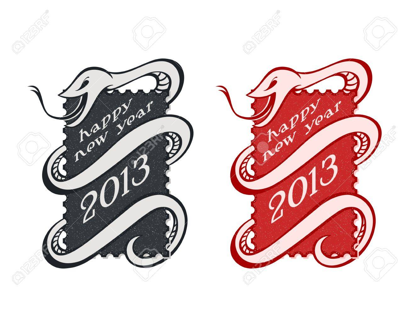 Vintage New Year serpent or snake stamps isolated Stock Vector - 15886345