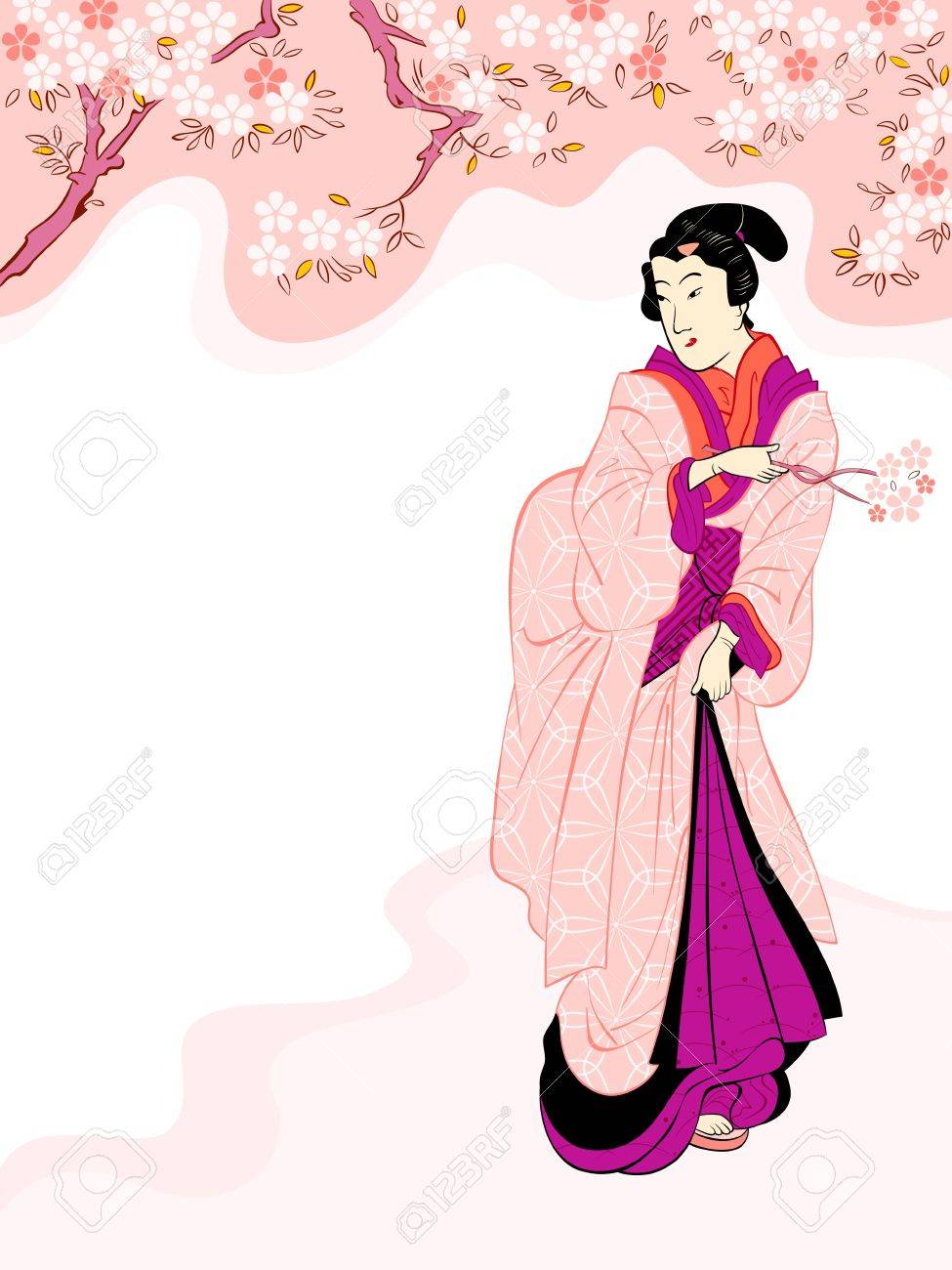 Vintage japanese geisha enjoying cherry tree blossom Stock Vector - 18366309