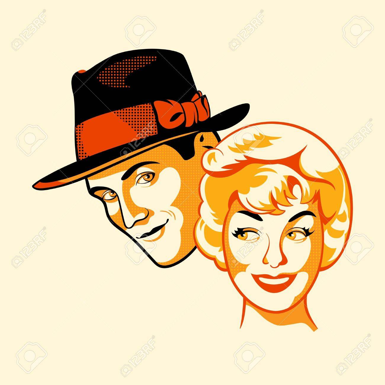Color halftone printing - Vector Vintage Flirting Couple In Three Color Print Halftone Pattern