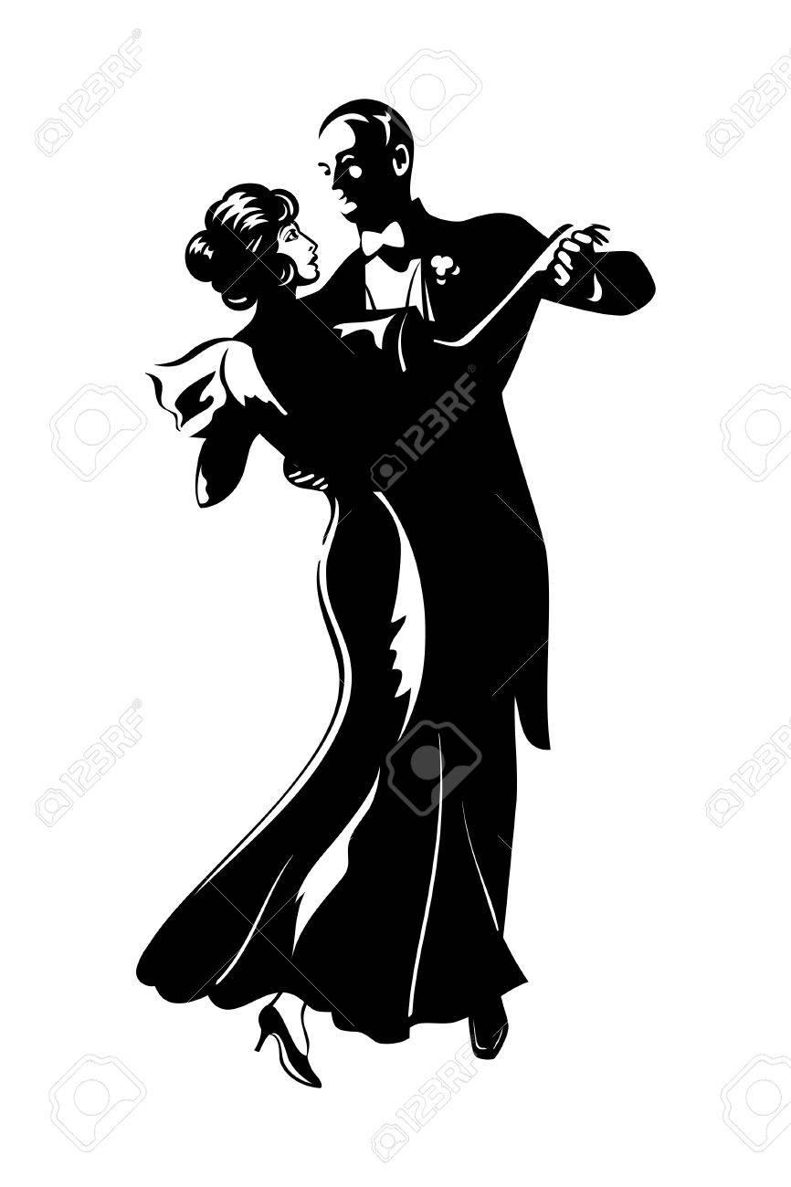 Ballroom Dancing Silhouette Vector Classic dancing pair