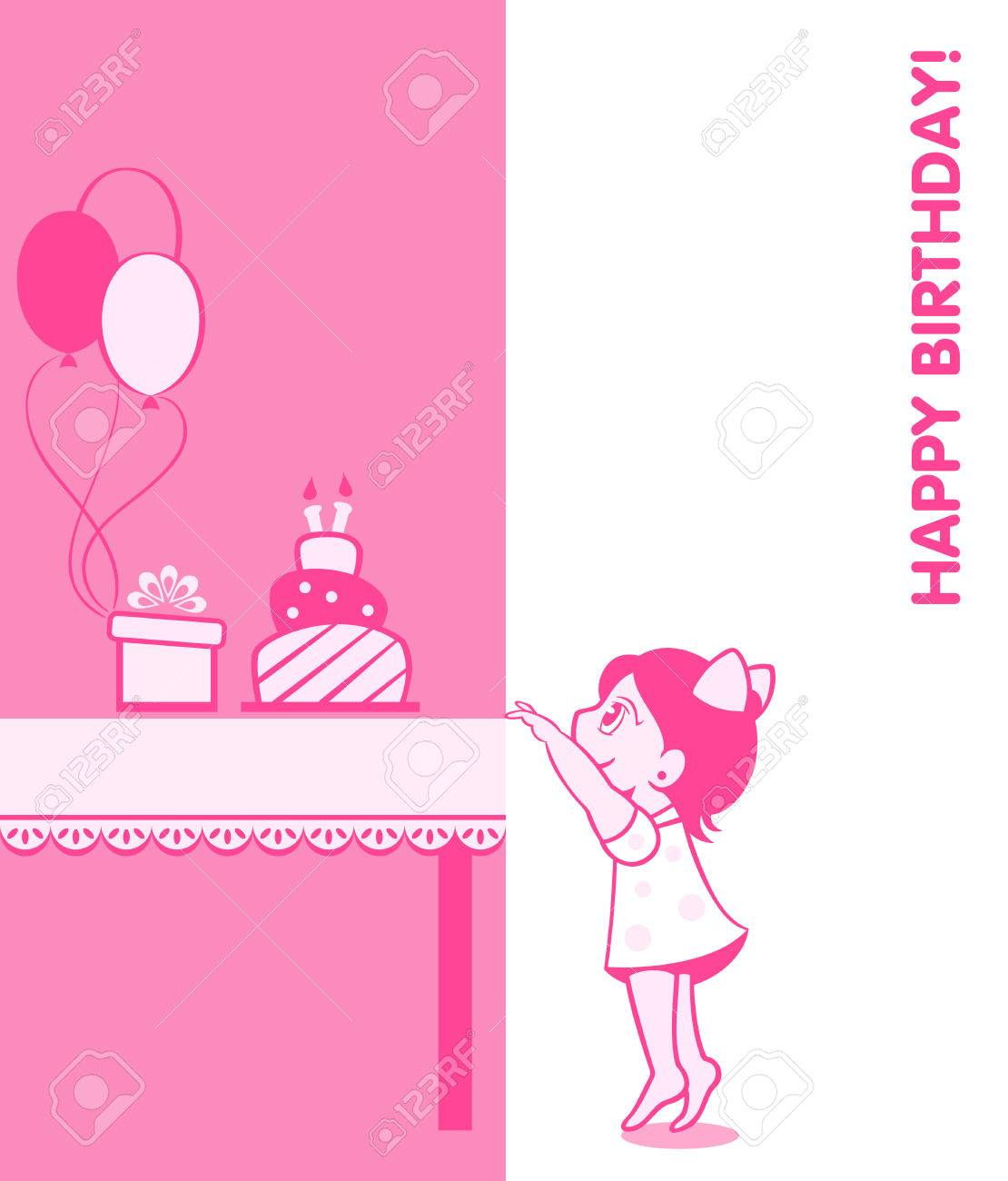 Little girl birthday card with cake, present and balloons Stock Vector - 22967958