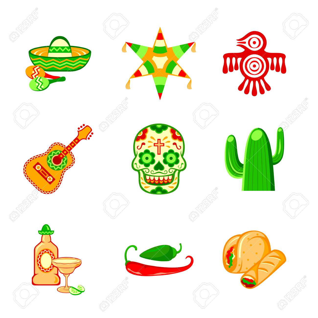 Colorful Culture Symbols Food And Objects Of Mexico Royalty Free