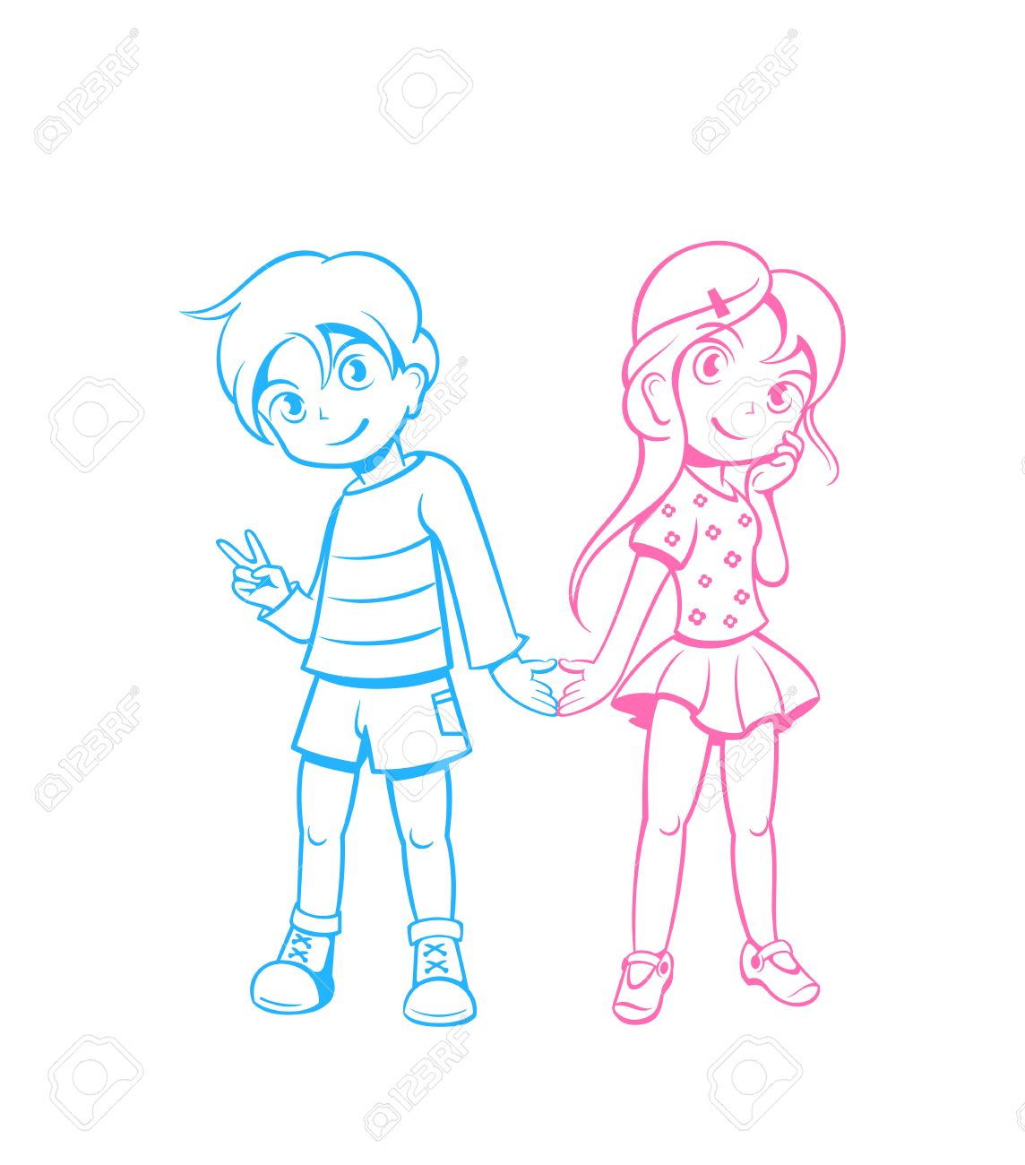 Cute boy and girl in love in anime style stock vector 39490204