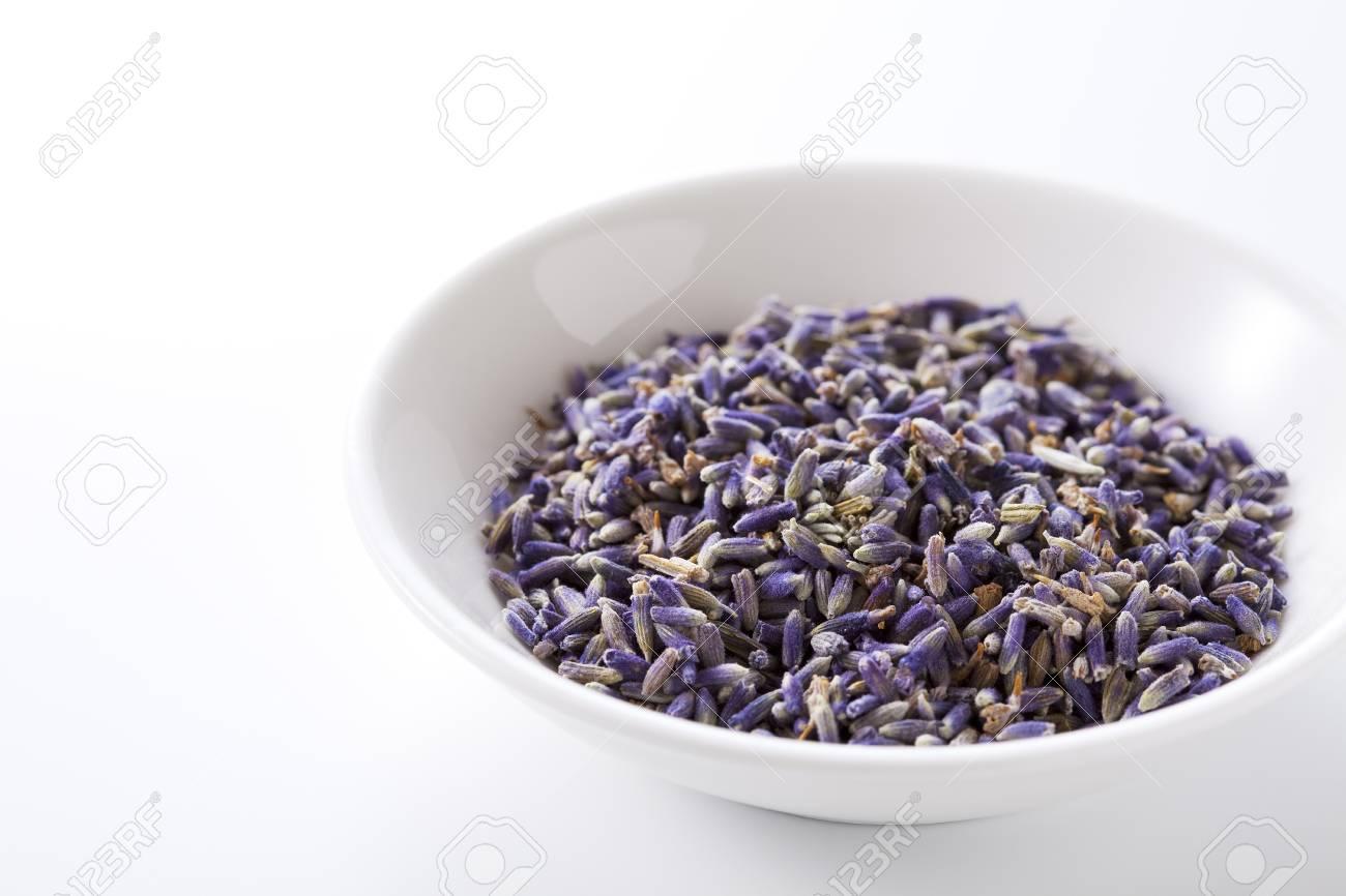 Lavender went into a white porcelain bowl Stock Photo - 10259243