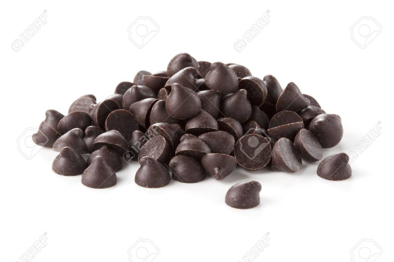 Chocolate Chips Was Placed On A White Background Stock Photo ...