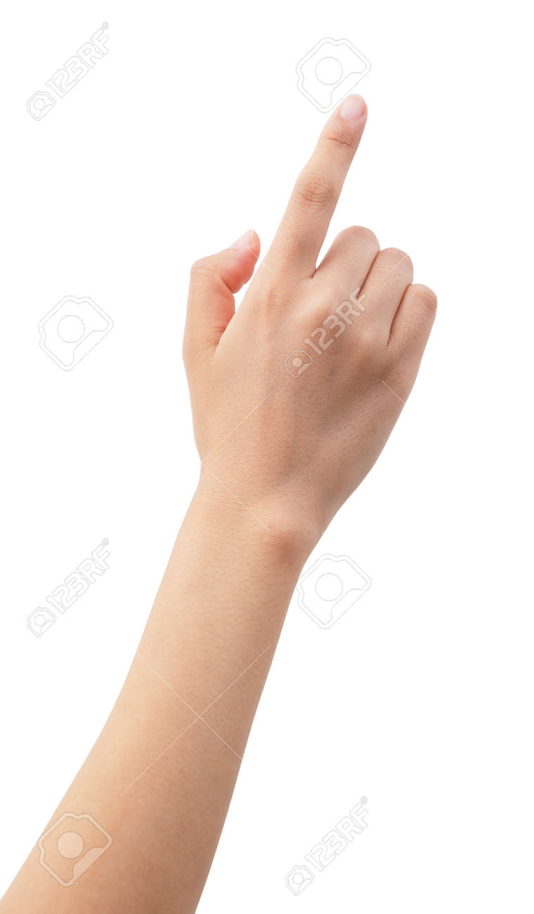 A woman's hand points to a white background - 155840646