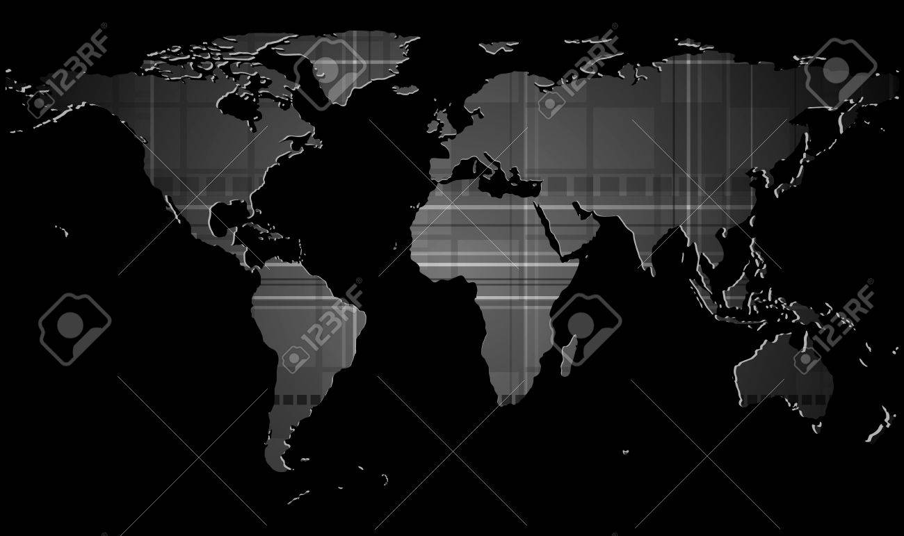 Dark Tech Background With World Map Texture Eps 10 Royalty Free