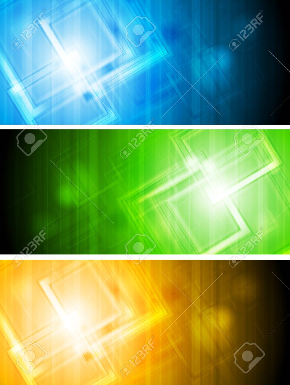 Colourful vector banners with tech elements. Eps 10 Stock Vector - 9932528