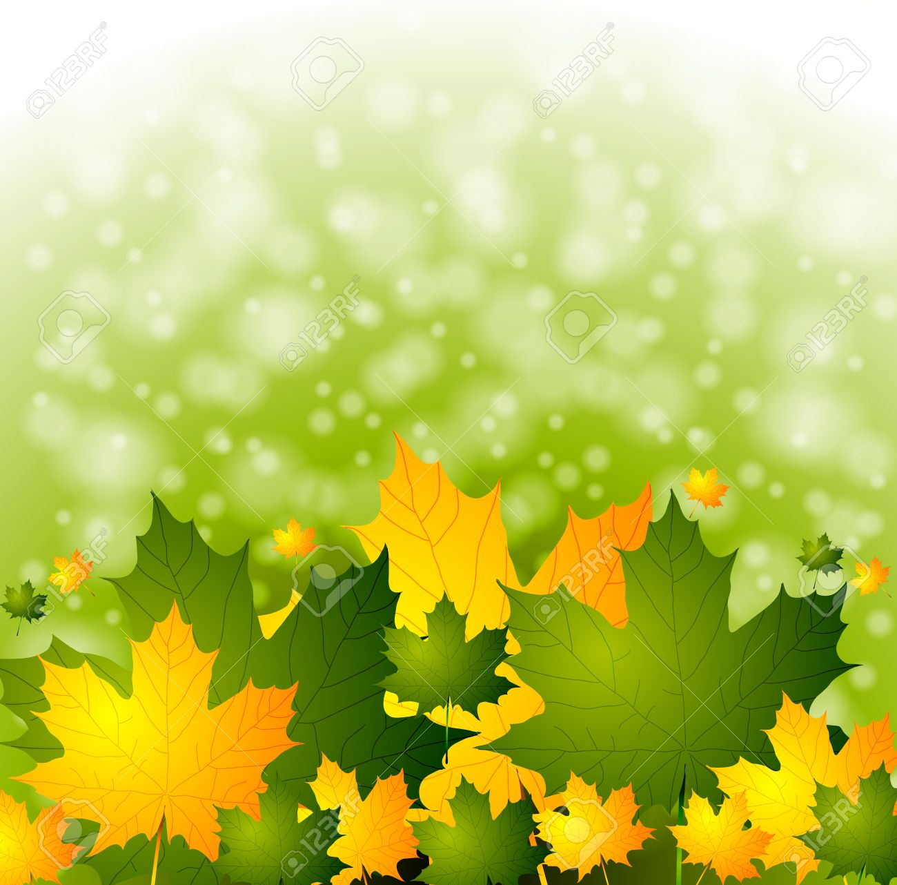 Autumn background with green and yellow leaves Stock Vector - 14827145