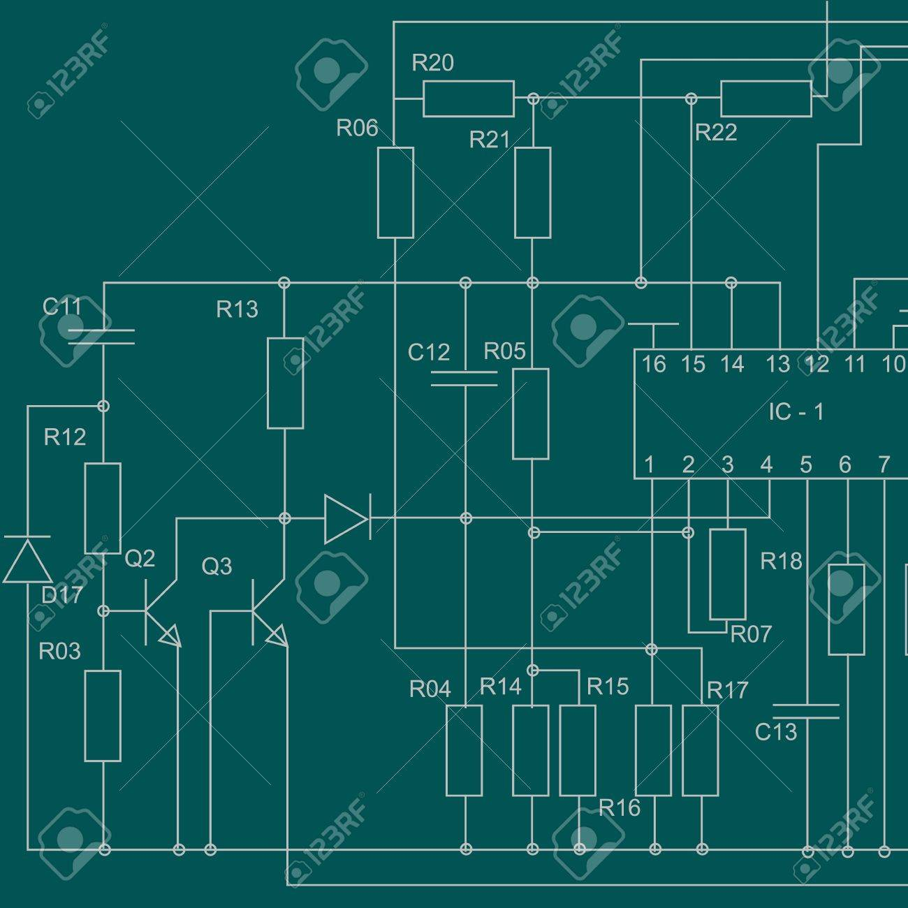 Abstract Electrical Scheme Background Design Royalty Free Cliparts ...