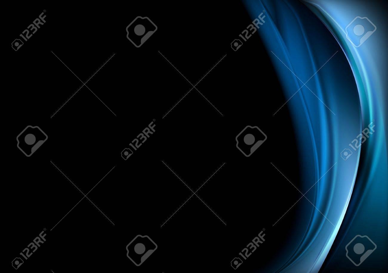 Blue waves on black background. Vector design - 33010396