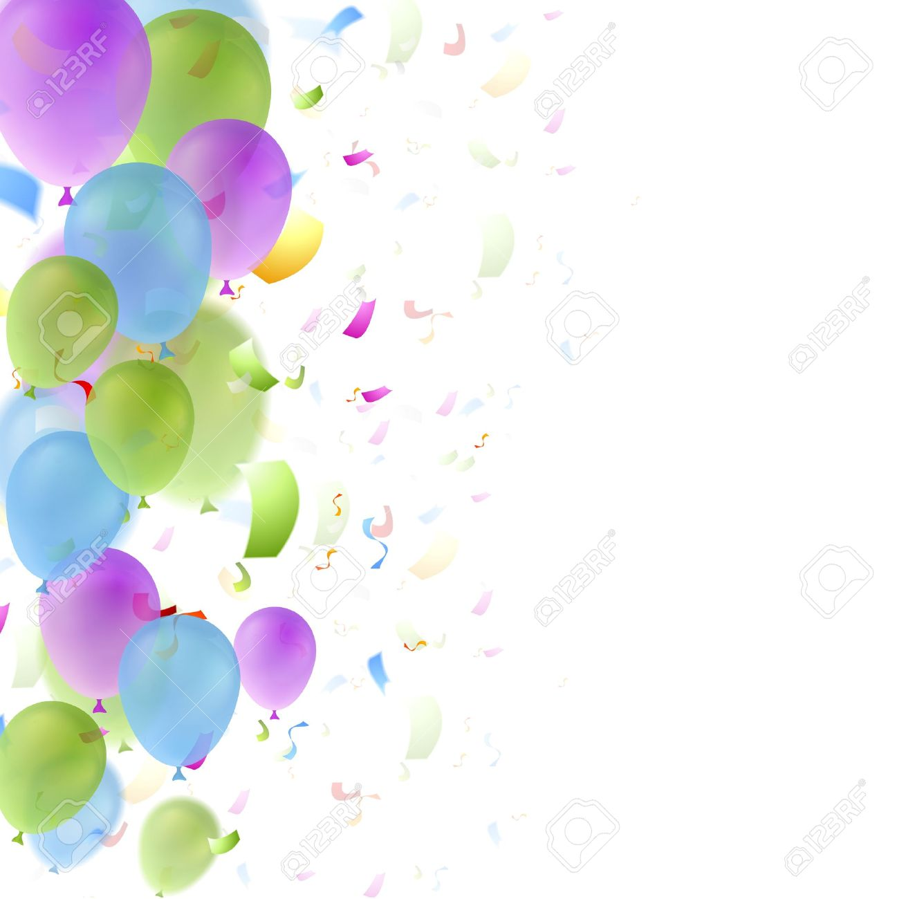 Bright Balloons And Confetti Birthday Background Greeting Card