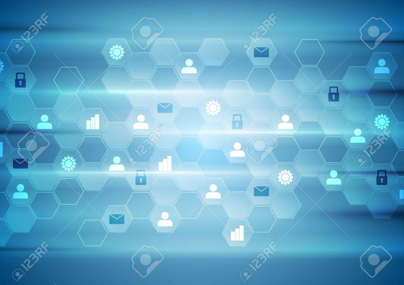 Blue tech communication abstract background. Vector design - 47703282