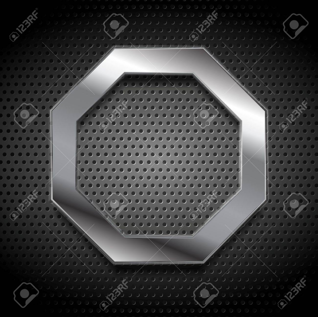 Metal octagon logo on perforated background. Vector design - 49573805