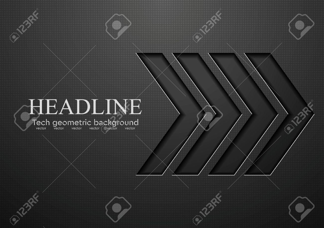 Tech black arrows background. Vector illustration - 49573830