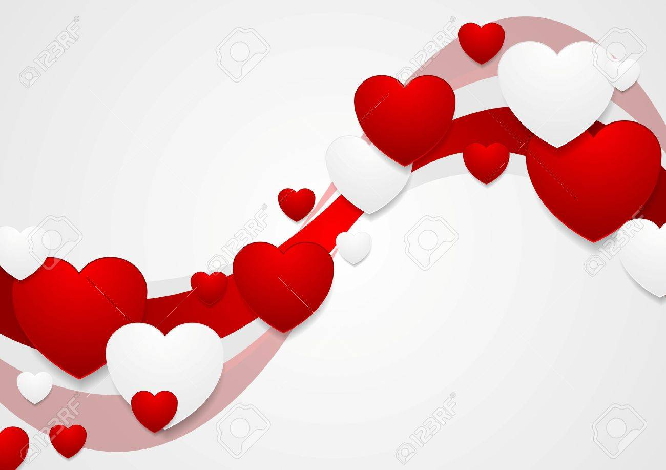 wavy red and grey valentine day background vector graphic design