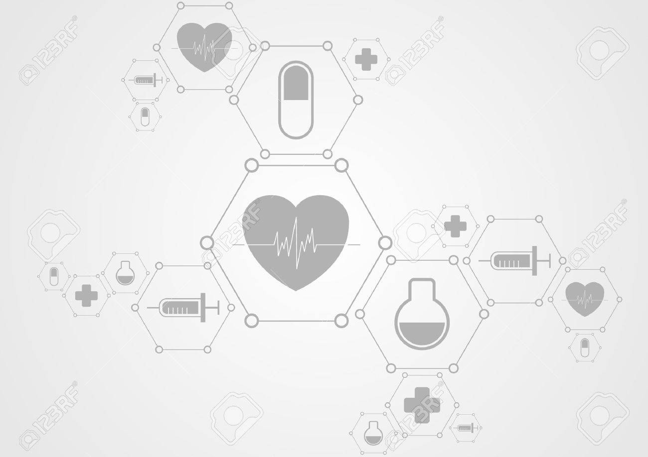 Health grey tech background and medical icons. Vector science design - 50427951