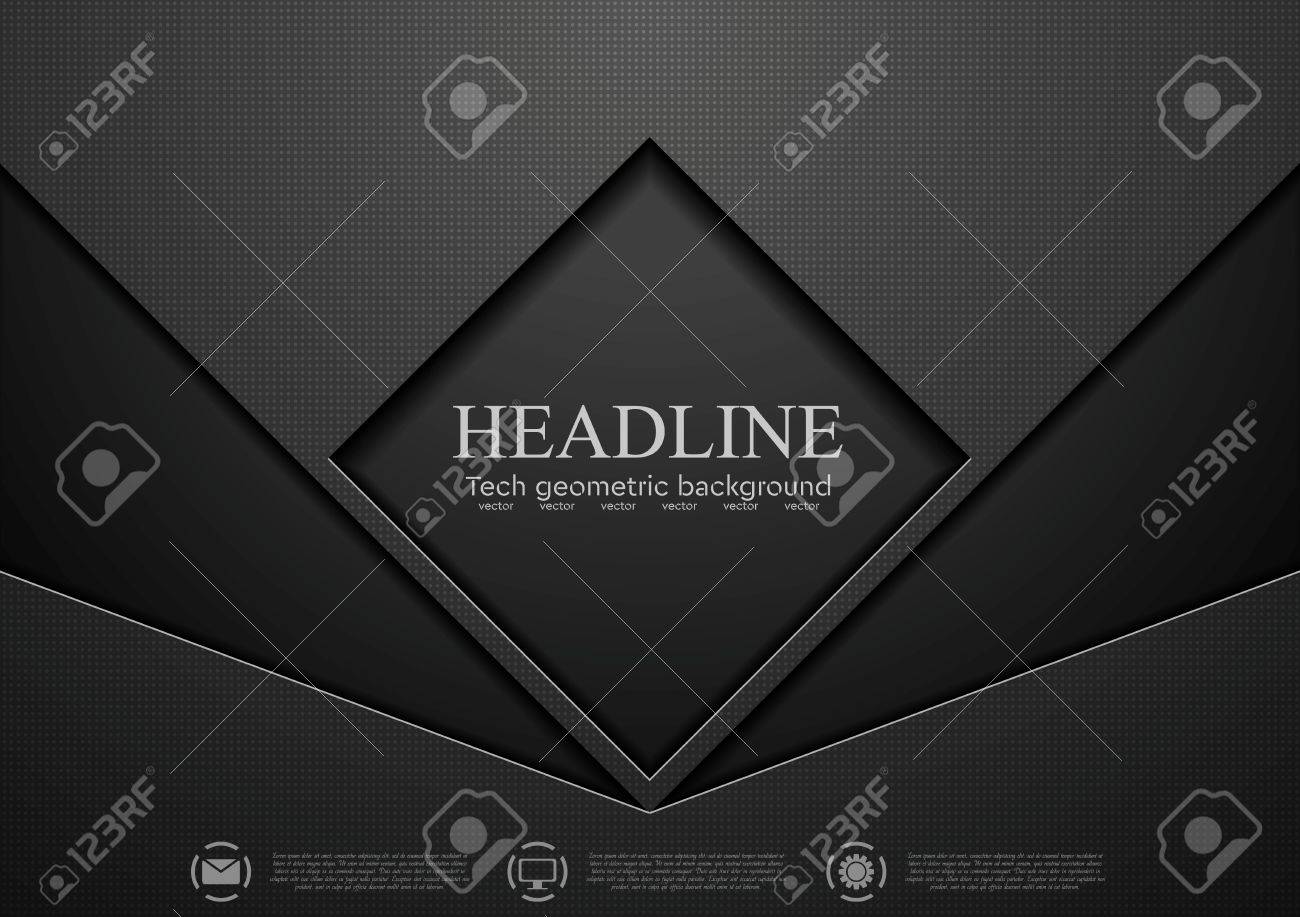 Tech black concept corporate abstract graphic design. Vector background - 51077421