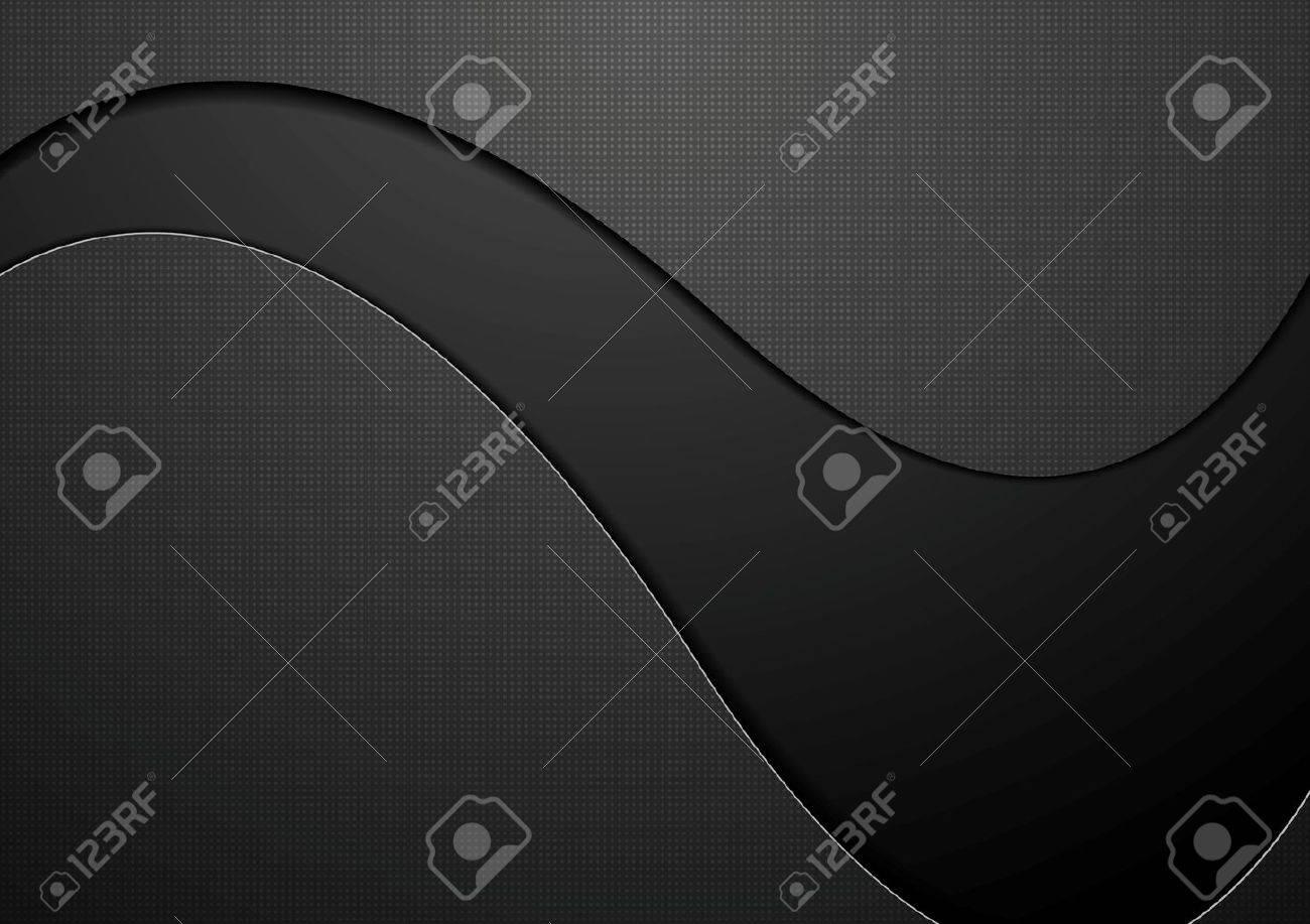 Black concept wavy background. Vector dark graphic design - 51077508