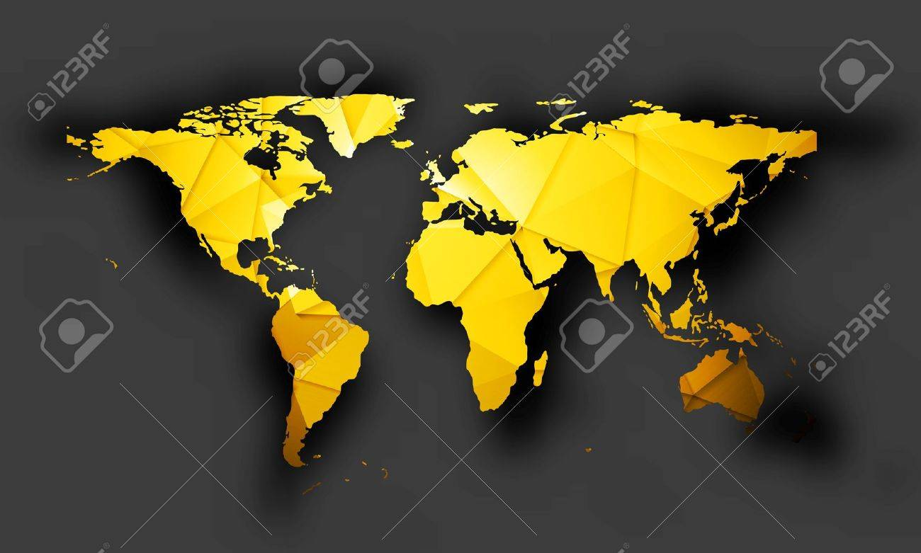 Bright orange polygonal world map with shadow on dark background. Vector graphic design - 51309939