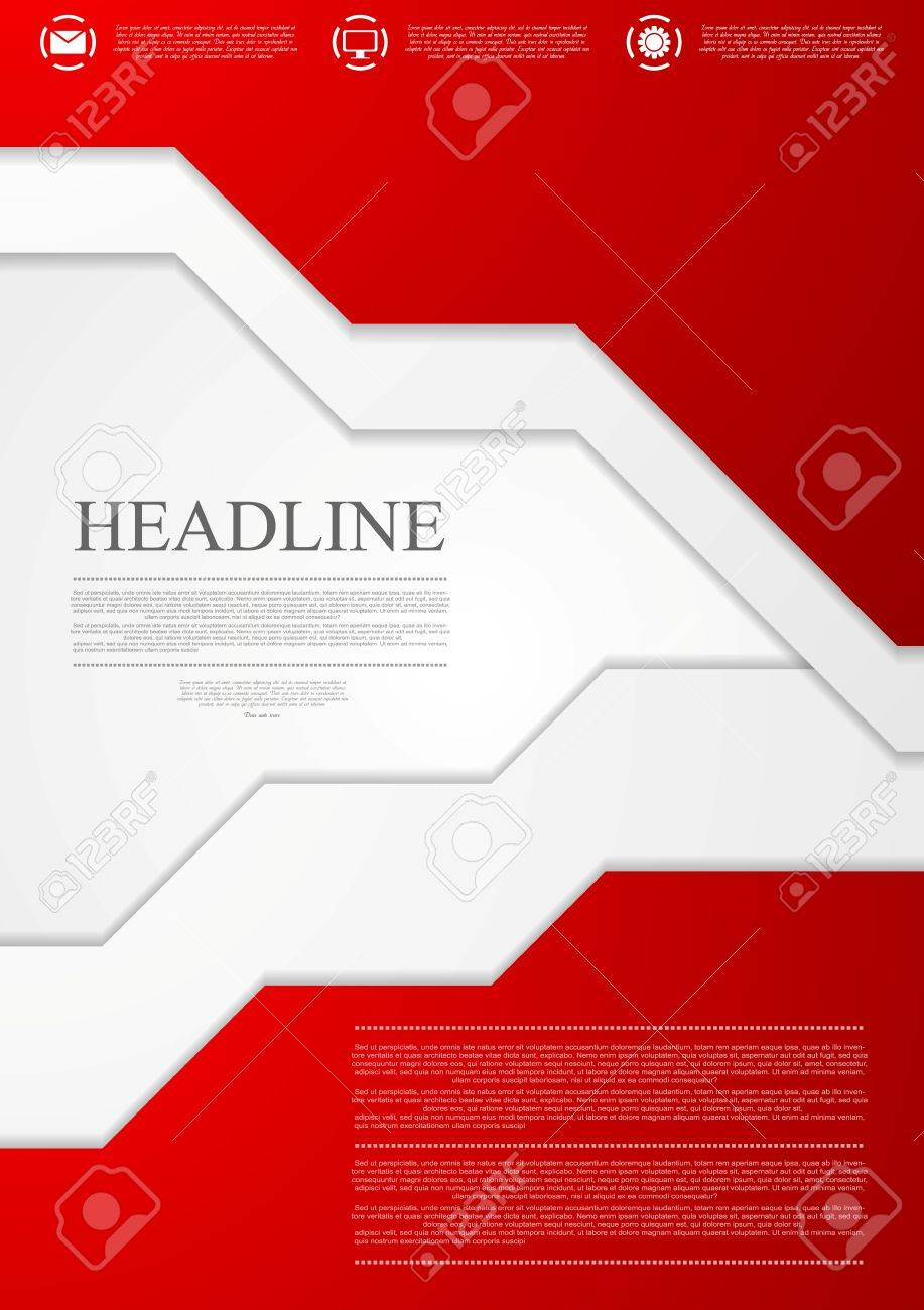 corporate red material tech flyer design template vector brochure