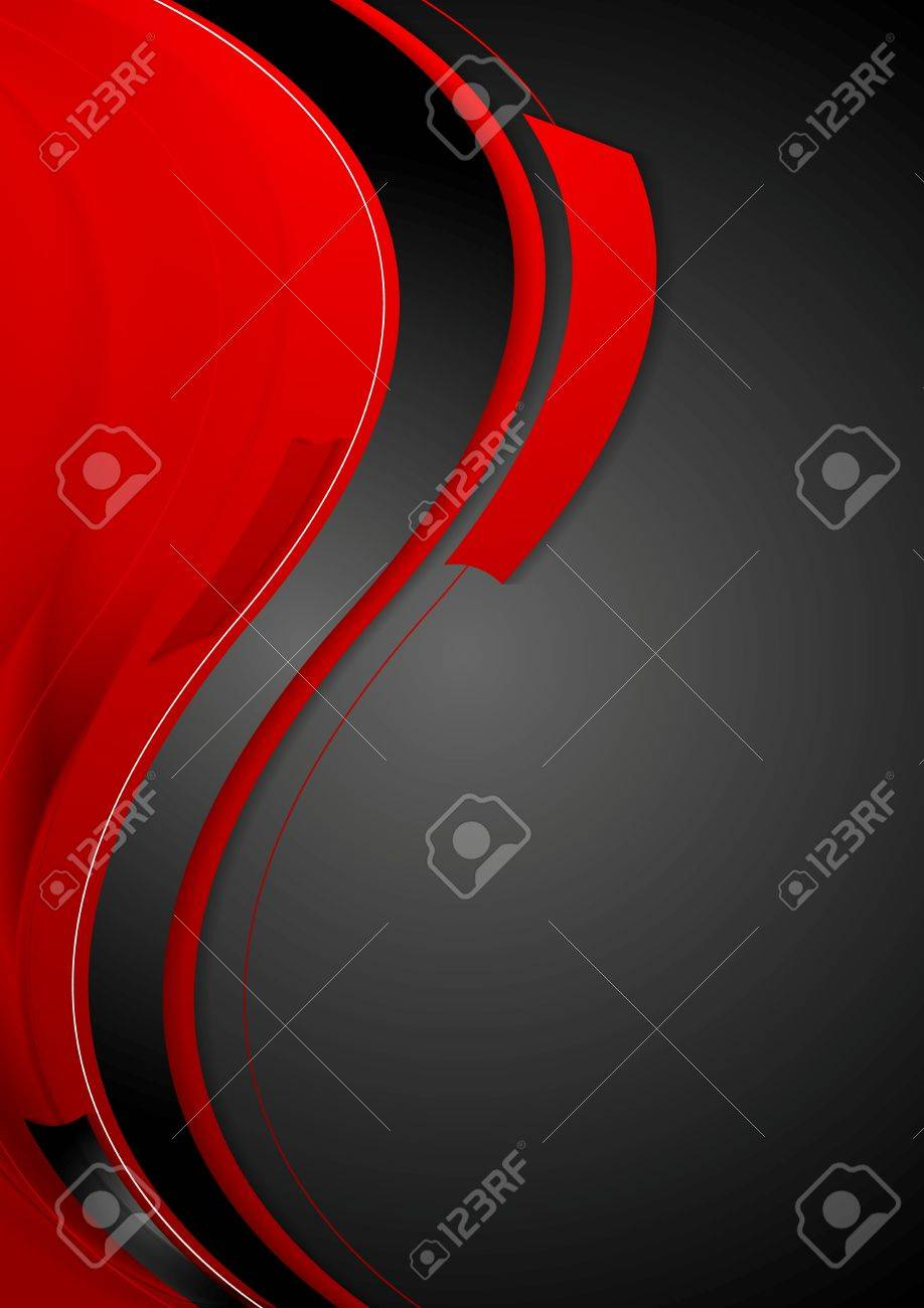 Bright contrast red black wavy background. Vector graphic design - 52198777