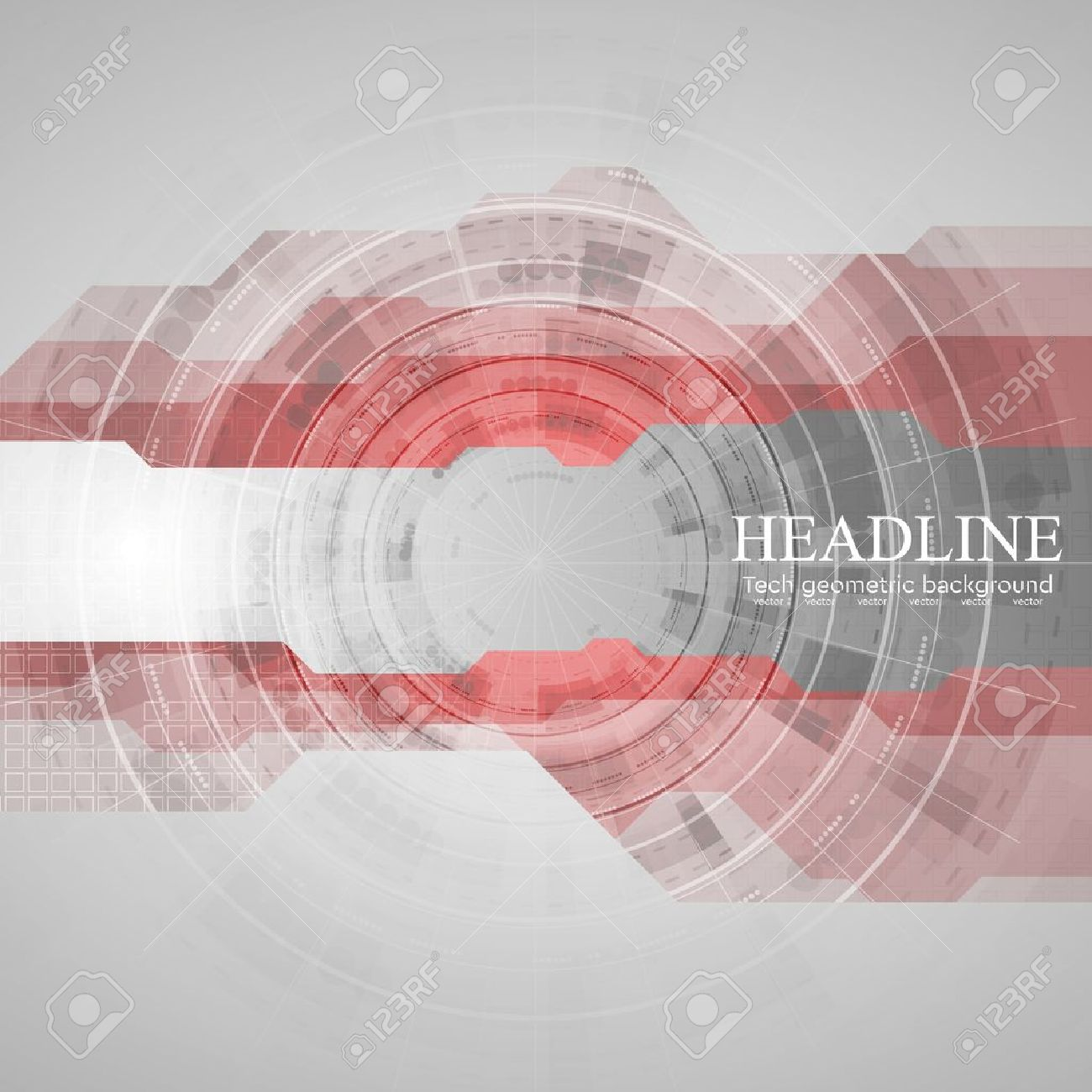 Tech geometric drawing background with gear. Red grey vector design template - 52531340