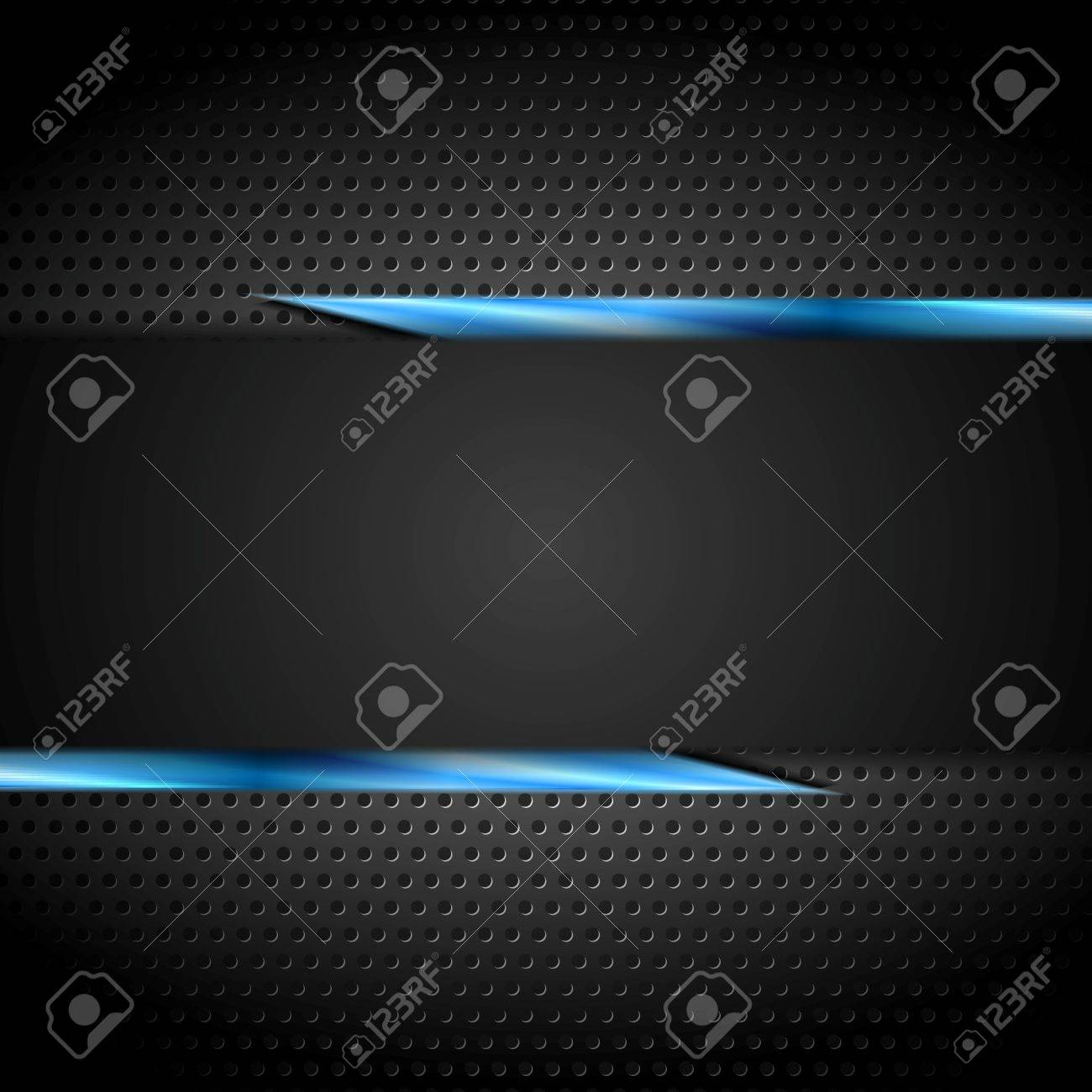 Tech black design with perforated metal texture. Vector background - 54351484