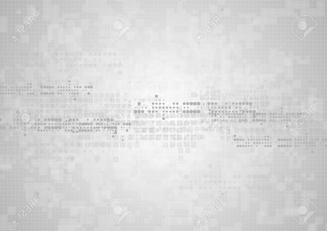 Hi-tech geometric grey abstract background. Vector graphic technology design with squares and circles - 54364466
