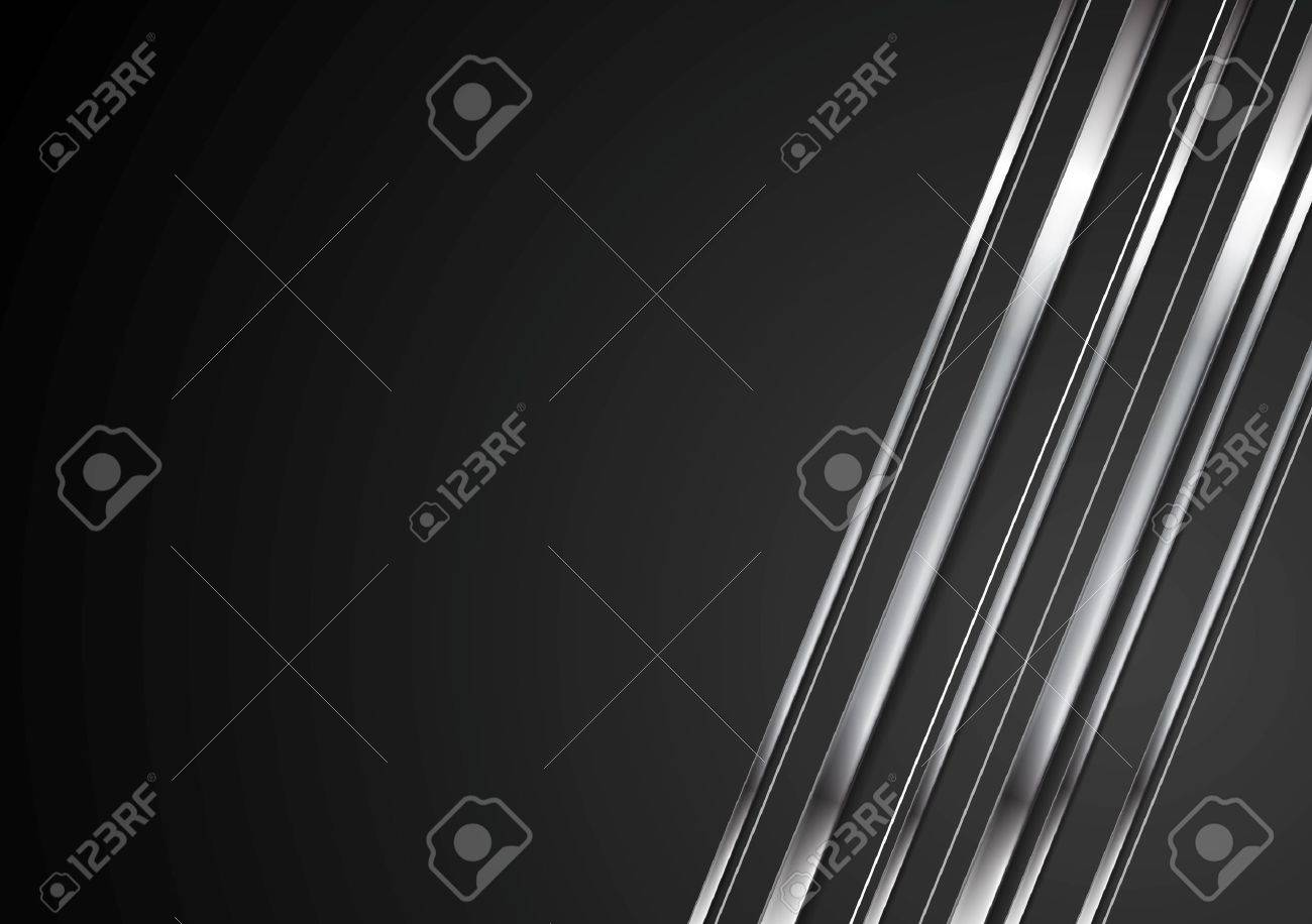 Abstract tech brilliant metallic stripes on black background. Vector shiny silver metal graphic design - 55687013