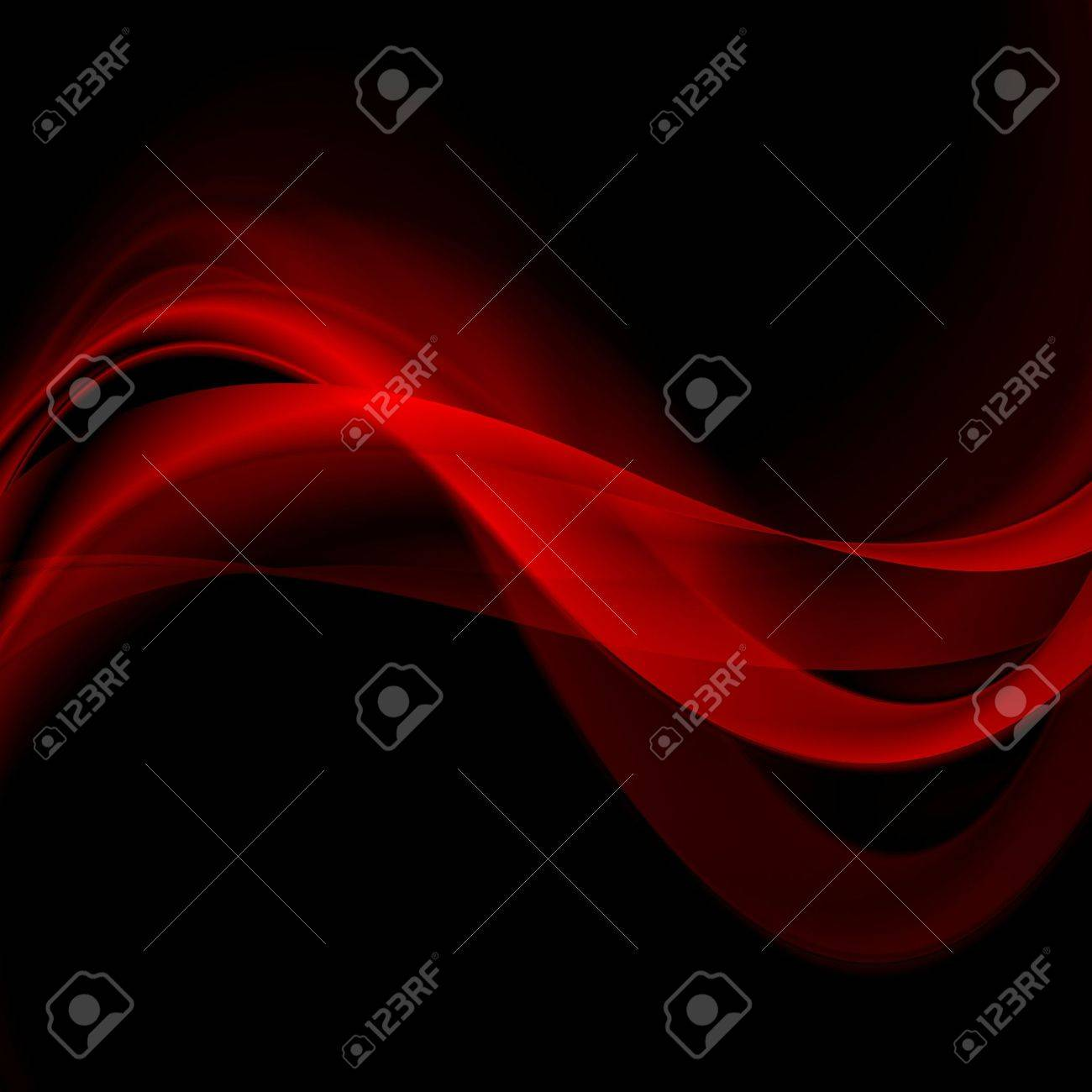Bright red glowing waves on black background. Vector abstract wavy graphic design - 56767367