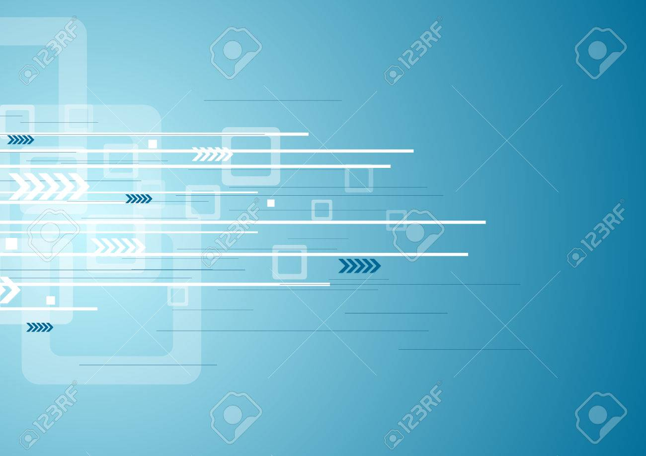 Abstract blue technology background with arrows and squares. Vector illustration design template - 56767857