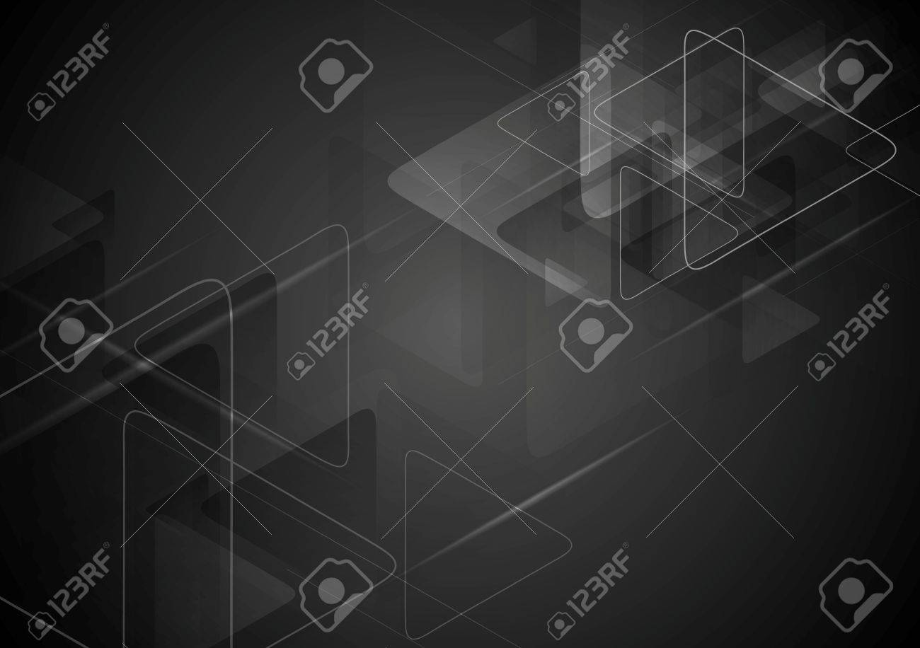 Black tech background with triangles shape. Vector graphic polygonal design - 56767870