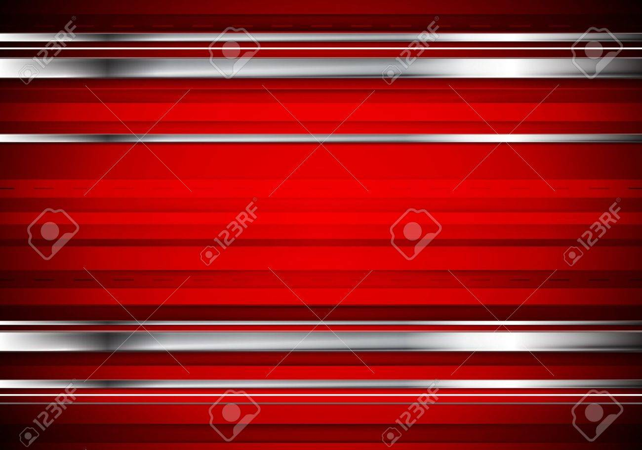 Striped tech metallic corporate background. Abstract red vector design with metal silver stripes - 58687646