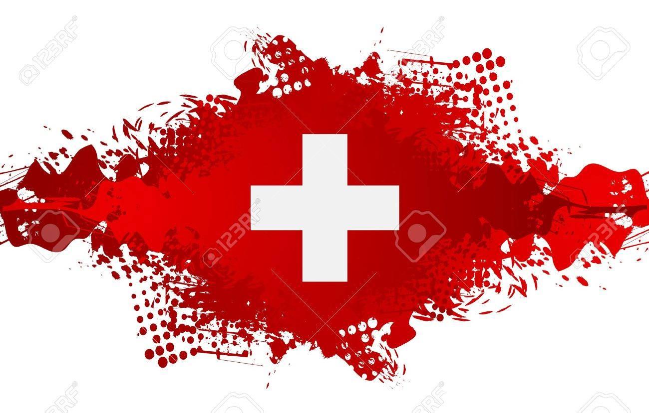 The Swiss National Day, Schweizer Bundesfeier, 1 August with swiss cross flag and grunge blot. Vector design - 60199527