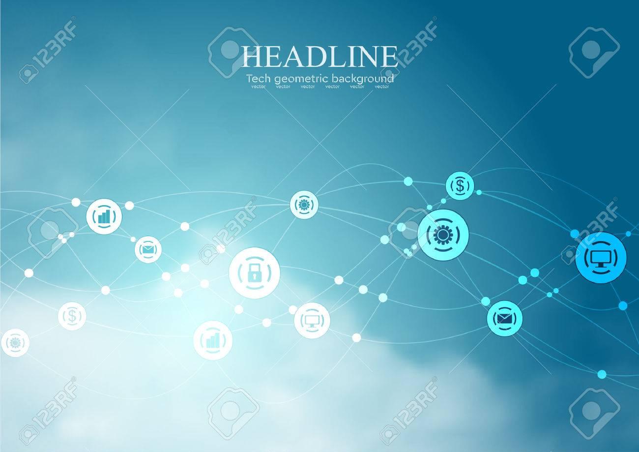 Social communication network wavy background. Vector blue cloudscape design - 60200825