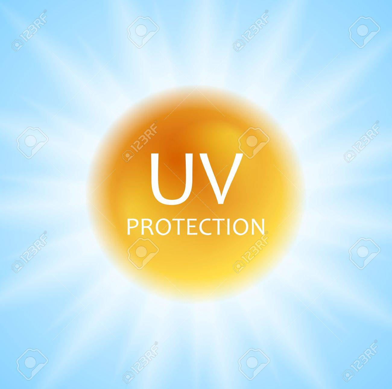 UV protection concept design with shiny sun and sunlight. Vector background - 60694166