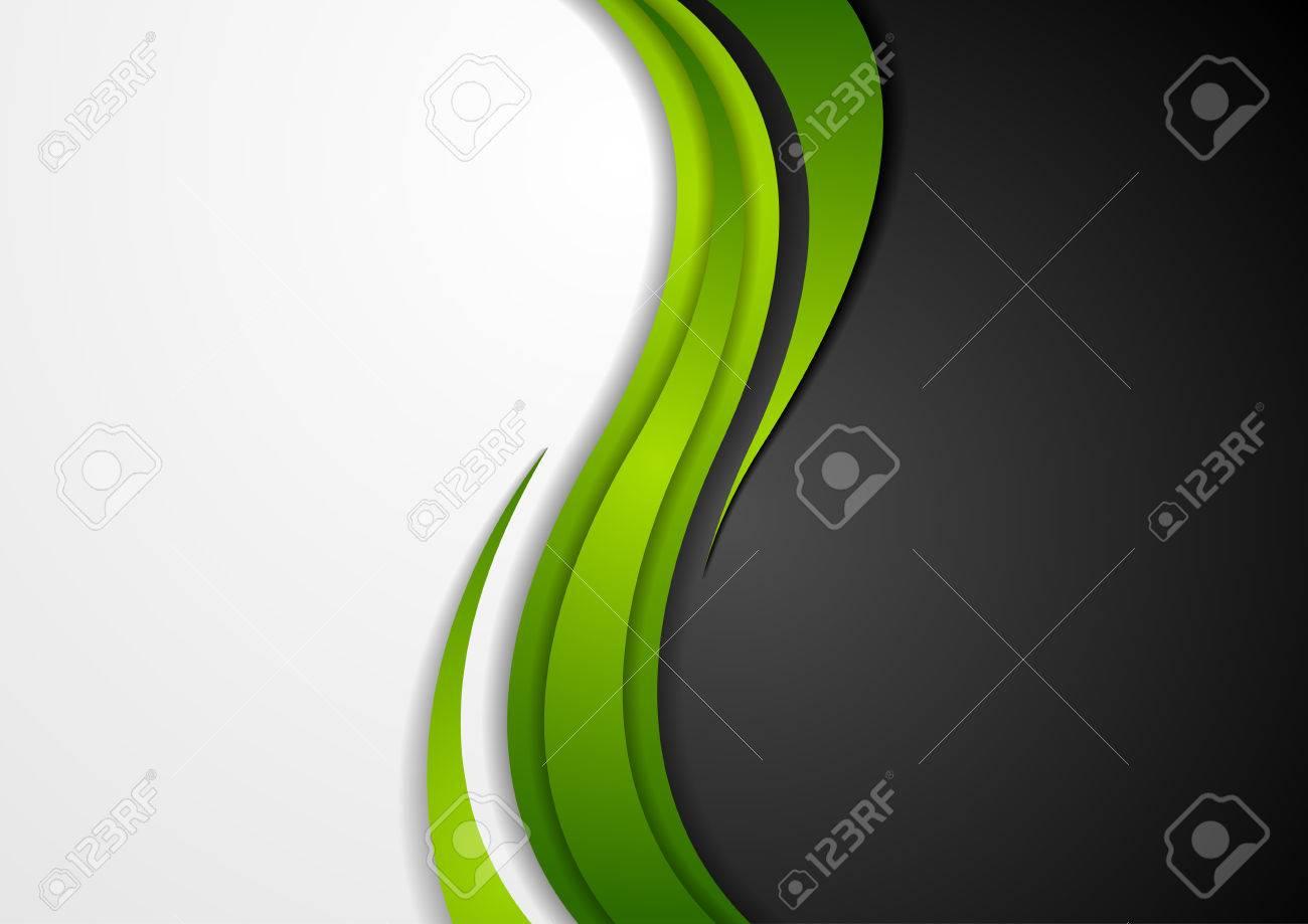 Abstract green black grey wavy background. Modern elegant waves vector graphic design - 66079060